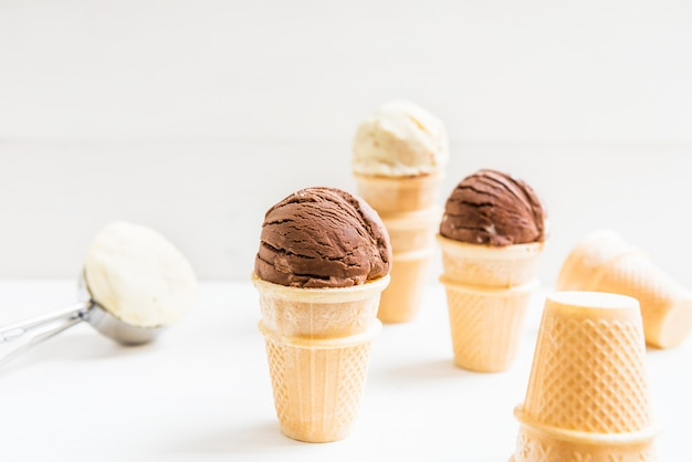 Ice cream scoops in waffle cup cones