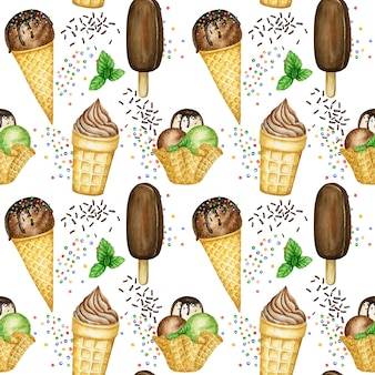 アイスクリームの夏のシームレスなパターン、ワッフルコーンのアイスクリームスクープ