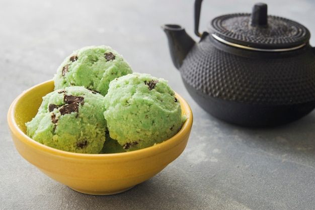 Ice cream of tea matcha