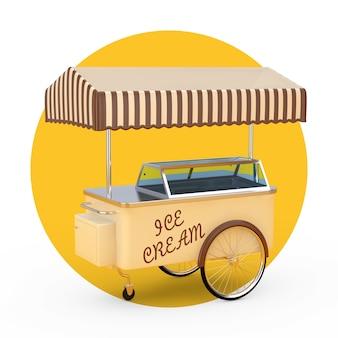 흰색과 노란색 배경에 아이스크림 트레이 카트 트롤리. 3d 렌더링