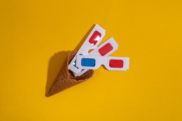 3dメガネとアイスクリームワッフルコーン