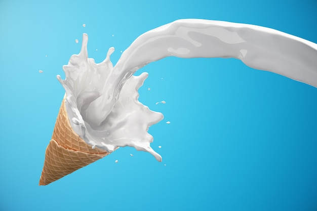 Ice cream waffle cone with milk splash
