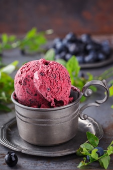 Ice cream with blueberries. summer sweet dessert.