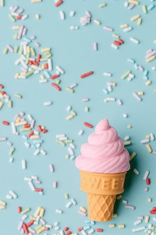 Ice cream with colourful candy sprinkles