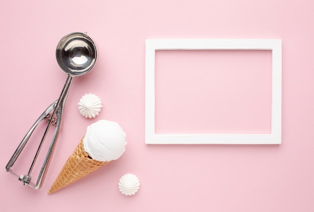 Ice cream with frame beside