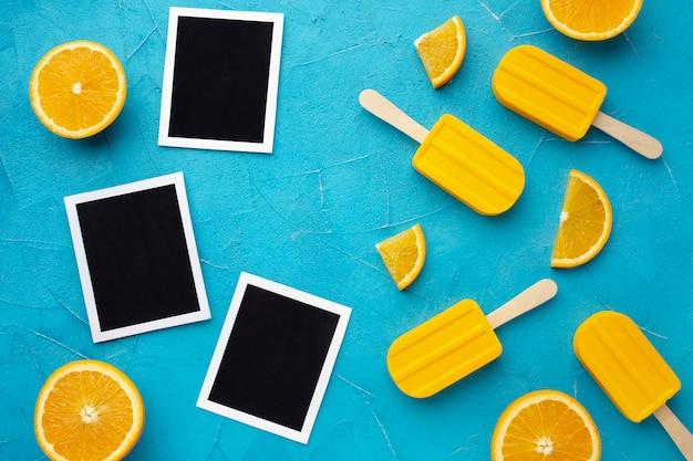 オレンジ味のアイスクリームと写真