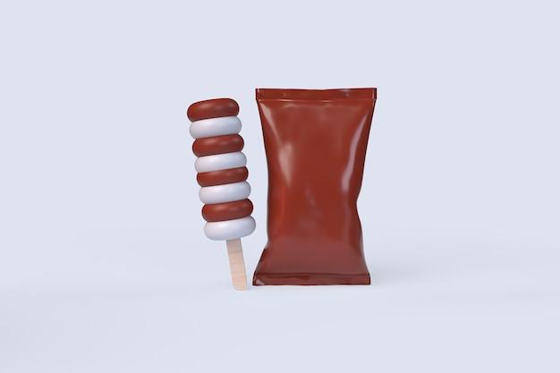 パッケージ付きアイスクリーム。 3dレンダリングのイラスト
