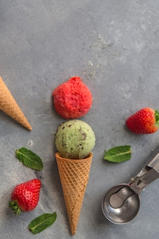 Ice cream with strawberry and mint and chocolate
