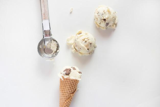 バニラとチョコレートのアイスクリーム