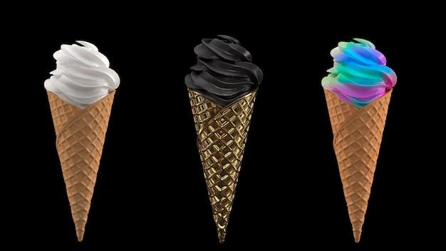 검정색 배경에 와플 콘이 있는 아이스크림