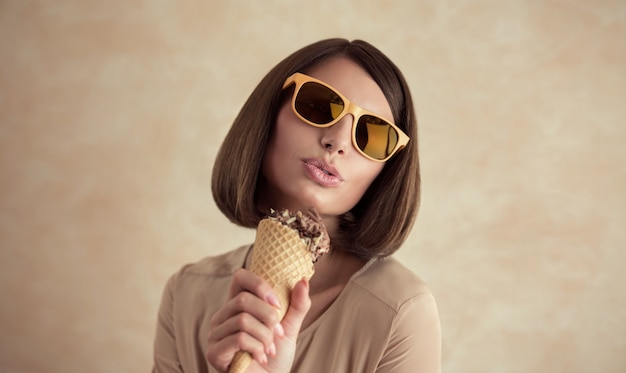 Ice cream woman singing in cone like in microphone