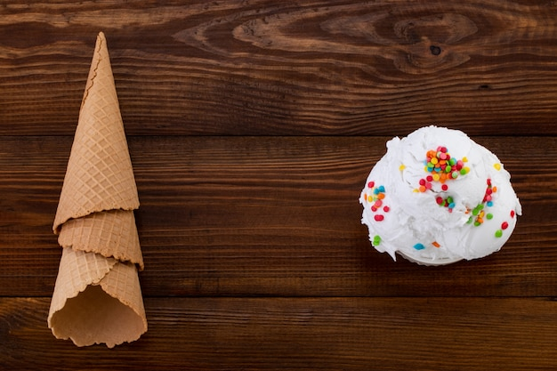 Ice cream on a wooden background