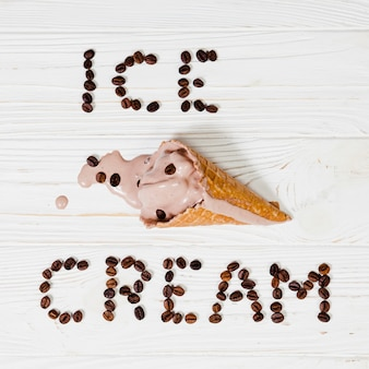 Ice-cream writing near cone