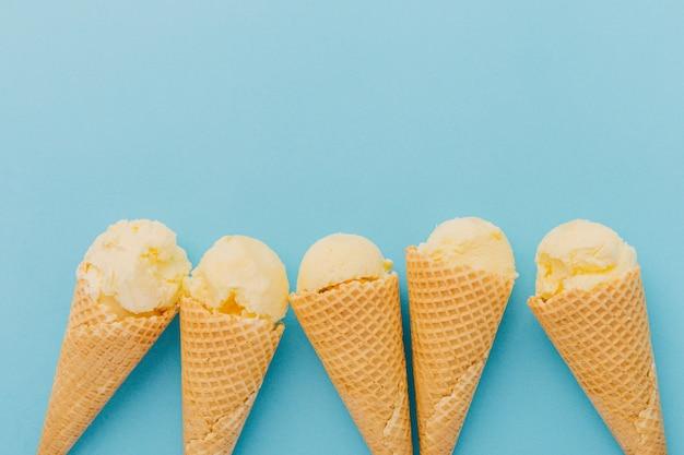 Ice creams in waffle cones