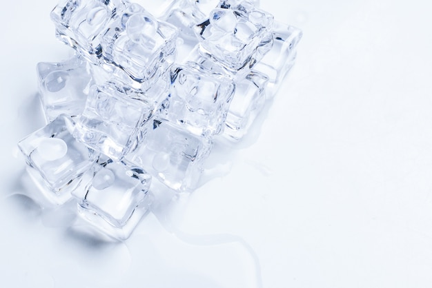Ice crystal cubes, space for text or design.