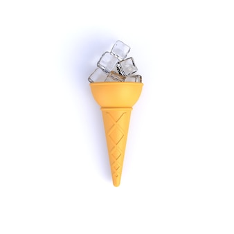 Ice cubes in ice cream cone abstract minimal white background, food concept, 3d rendering