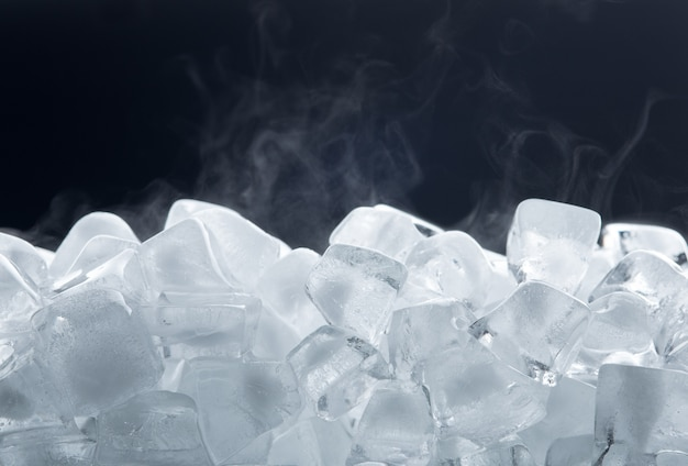 Ice cubes isolated on black background