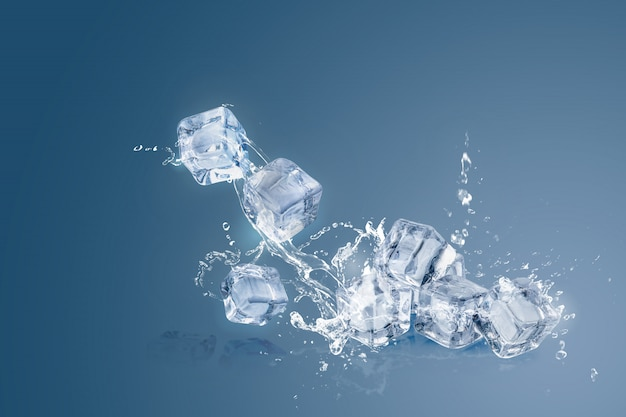 Ice cubes isolated over a blue  and copy space