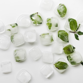 Ice cubes and leaves