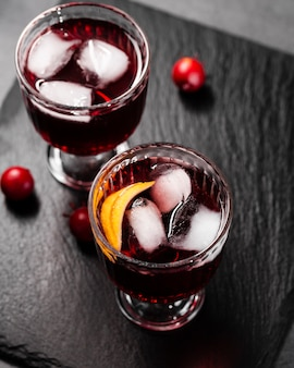 Ice cubes in lovely drinks top view
