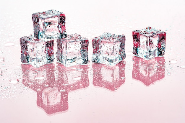 Ice cubes on pink background