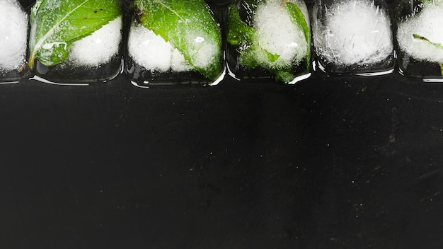 Ice cubes in row