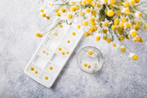 内部のカモミールの花とアイスキューブ Premium写真