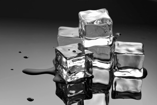 Ice cubes with water drops