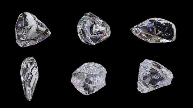 Лед, драгоценный камень. 6 стилей на черном фоне. 3d.