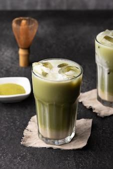 Ice green tea latte food