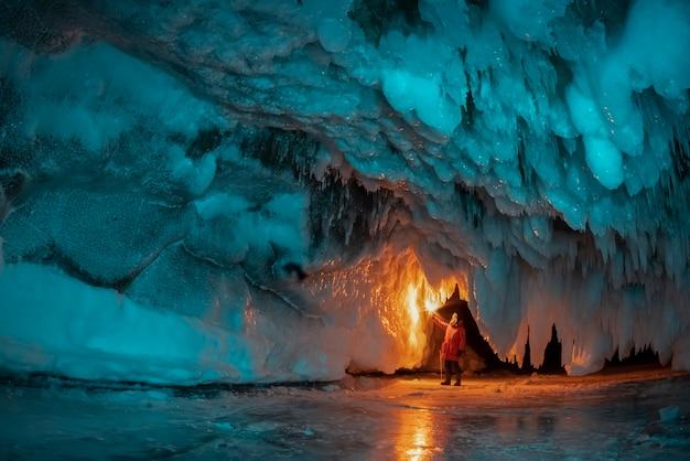 Ice grotto made of blue ice. lake baikal, russia