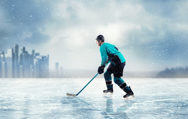 Ice hockey player in action on frozen lake