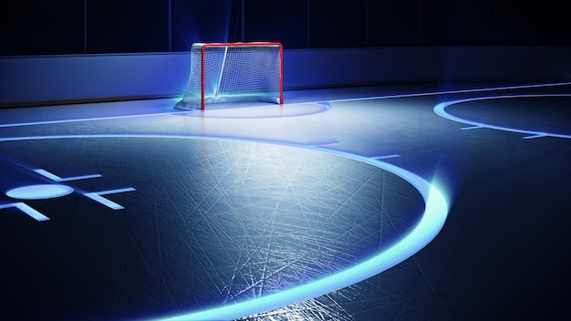 Хоккейный стадион с прожекторами и красными воротами