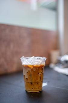 Ice latte coffee in plastic glass