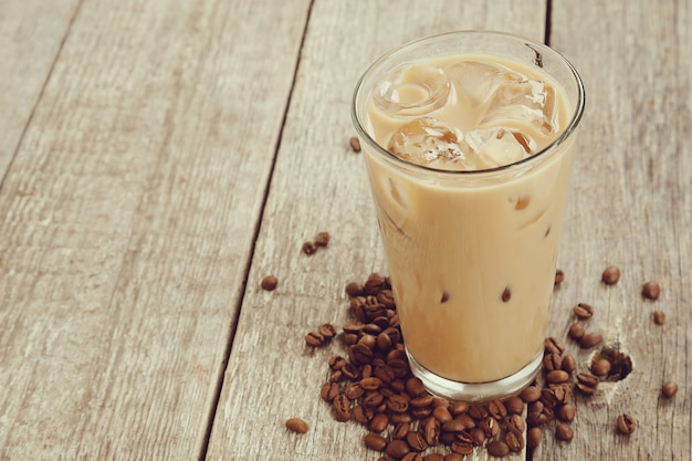 Ice latte with coffee beans