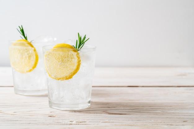 Ice lemonade soda on wooden table