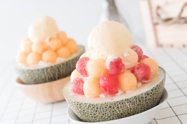 Ice melon bingsu, famous korean ice-cream