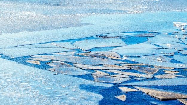 春の雪解けの間に川の氷