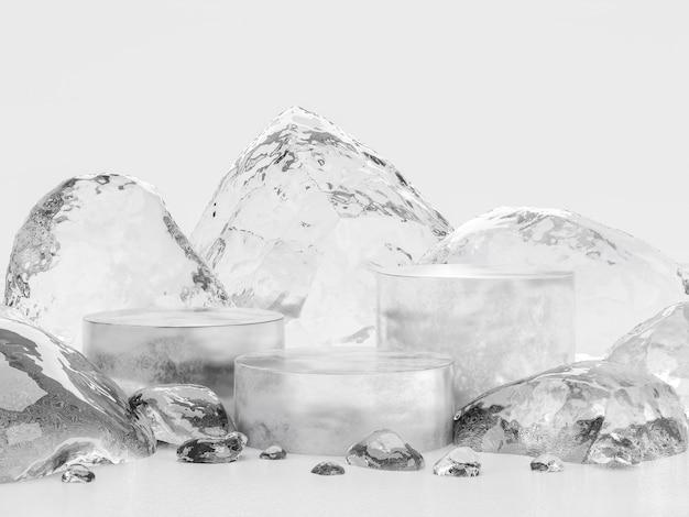Ледяной подиум для отображения продукта 3d-рендеринга, окруженный ледяными камнями на белом фоне