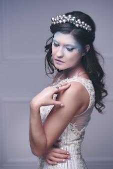 Ice queen or snow queen at studio shot