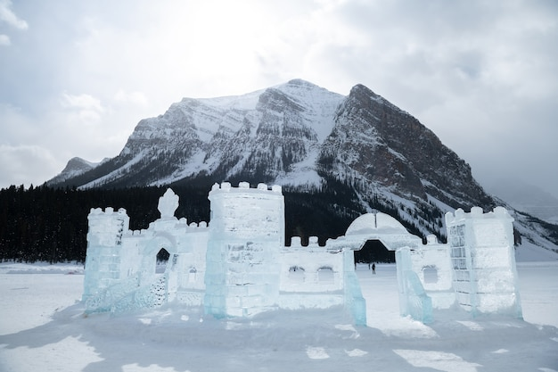 Ice sculptures at lake louise,banff national park in winter, alberta canada