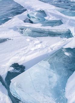 Ice sheets in frozen lake at lake baikal, russia
