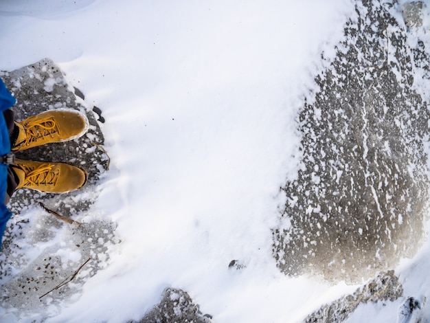 Ice snow earth ground brown boots legs white journey