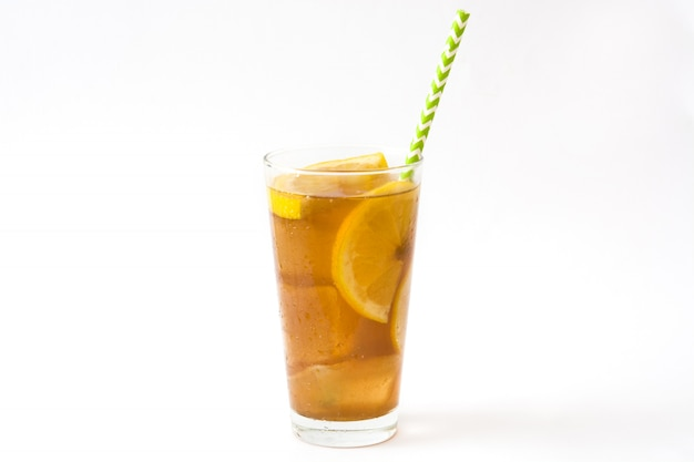 Ice tea with lemon isolated on white