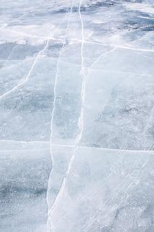 Ice texture on surface of frozen lake
