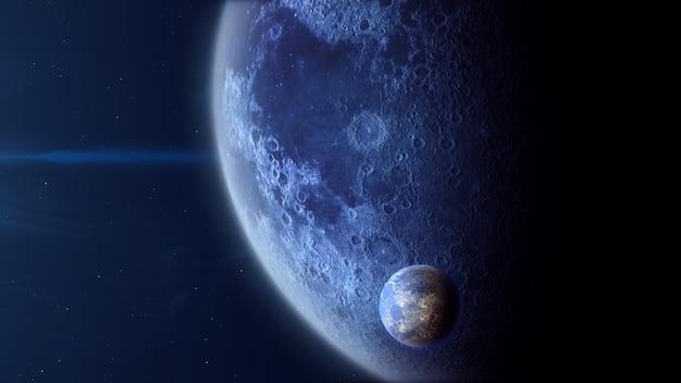 月のある氷型太陽系外惑星