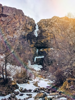 Ice waterfall in the peak slope