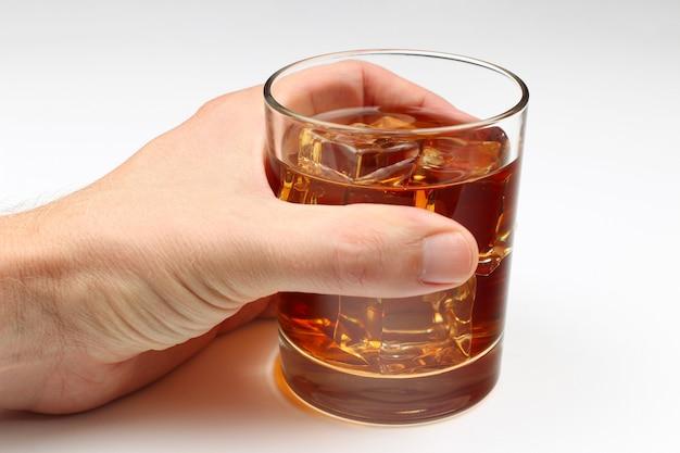 白に手にアイスウイスキー