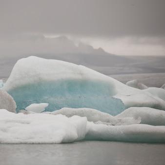 Iceberg floating in glacial lake