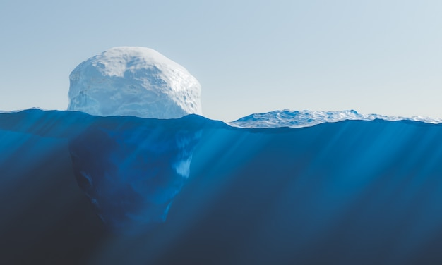Iceberg floating in the sea with a view of the seabed with caustics. concept of environment, ice melting and global warming. 3d rendering